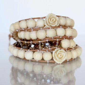 Wrap, beaded crystals AB 4 mm creamy off white wooden 6 mm rounds rosebud cream colored beads natural leather 1 mm