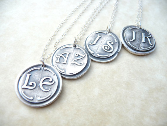 Wax seal bridesmaid monogram necklace pendant jewelry in first and last initials, four pendants custom made to order