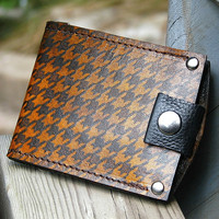 Men's Billfold Leather Wallet - Slim Jim Money Clip Wallet - Houndstooth