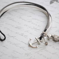 Summer Bracelet No.56--  Stormy shore- leather cord, anchor clasp and seahorse charm bracelet
