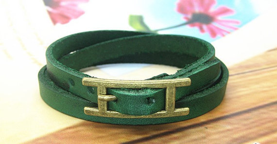 Adjustable Bracelet Green Leather Bracelet Bracelet Cool Bracelet Mens Bracelets unisex Bracelet Womens Bracelet 1049S