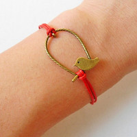 jewelry bangle bird bracelet ropes bracelet women bracelet girls bracelet with antique bronze bird bracelet and red rope SH-02061