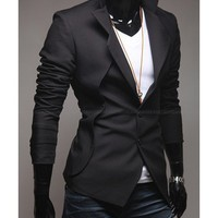 Men Fashion Pattern Long Sleeve Slim Design Black Blends Suit M/L/XL/XXL@S5X10-1b $41.87 only in eFexcity.com.