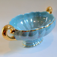 I DREAM of JEANNIE Vintage Pastel Blue Lusterware Antique Handled Porcelain Compote Bowl Gold Gilt Centerpiece on Footed Base