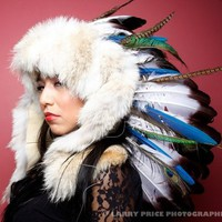 Ruby Feathers White Fox Fur and Macaw War bonnet by rubyfeathers