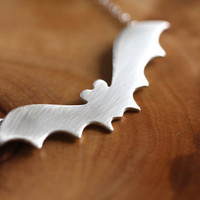 Bat necklace in sterling silver