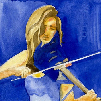 Music Art Blues Violin 8x10 Watercolor Print