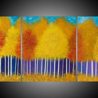 "Large Original Modern Abstract Heavy Texture Impasto Painting Landscape Tree Wall Decor ""Fall Splendour"" by QIQIGALLERY"