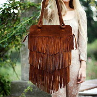 La Dama ? Sabrina Tach Brown Leather Fringe Bag