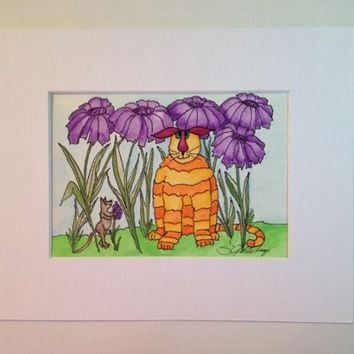 #Painting of #Cat, #Mouse and #Purple African #Daisies, #Watercolor, #Original