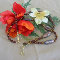 Chocolate Glass Pearl Lanyard by PattysDreamDesigns on Zibbet