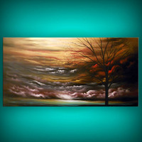 art painting original large art painting huge landscape modern red abstract silhouette tree landscape painting huge 48 x 24