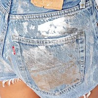 Milk It Vintage High Waisted Denim Shorts With Raw Hem & Metallic Front