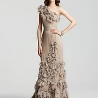 Tadashi Shoji One-Shoulder Cascading Rosette Gown - Shop All Dresses - Bloomingdales.com
