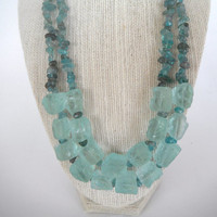Blue Green Aqua Rough Quartz Nugget with Apatite Chip Double Strand Necklace Silver gift fashion under 50