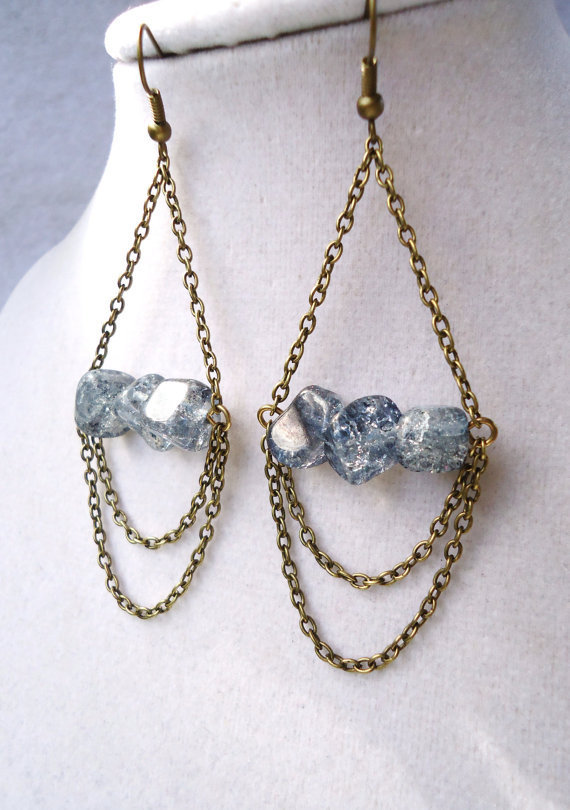 Boho Bronze Chain Trapeze Chandelier Earrings With Gray Crackle Glass
