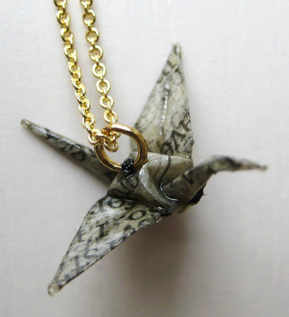 Origami Crane Necklace - Newspaper