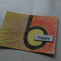 "ACEO Original ""happy"" Mixed Media - One Word at a Time Series 1"