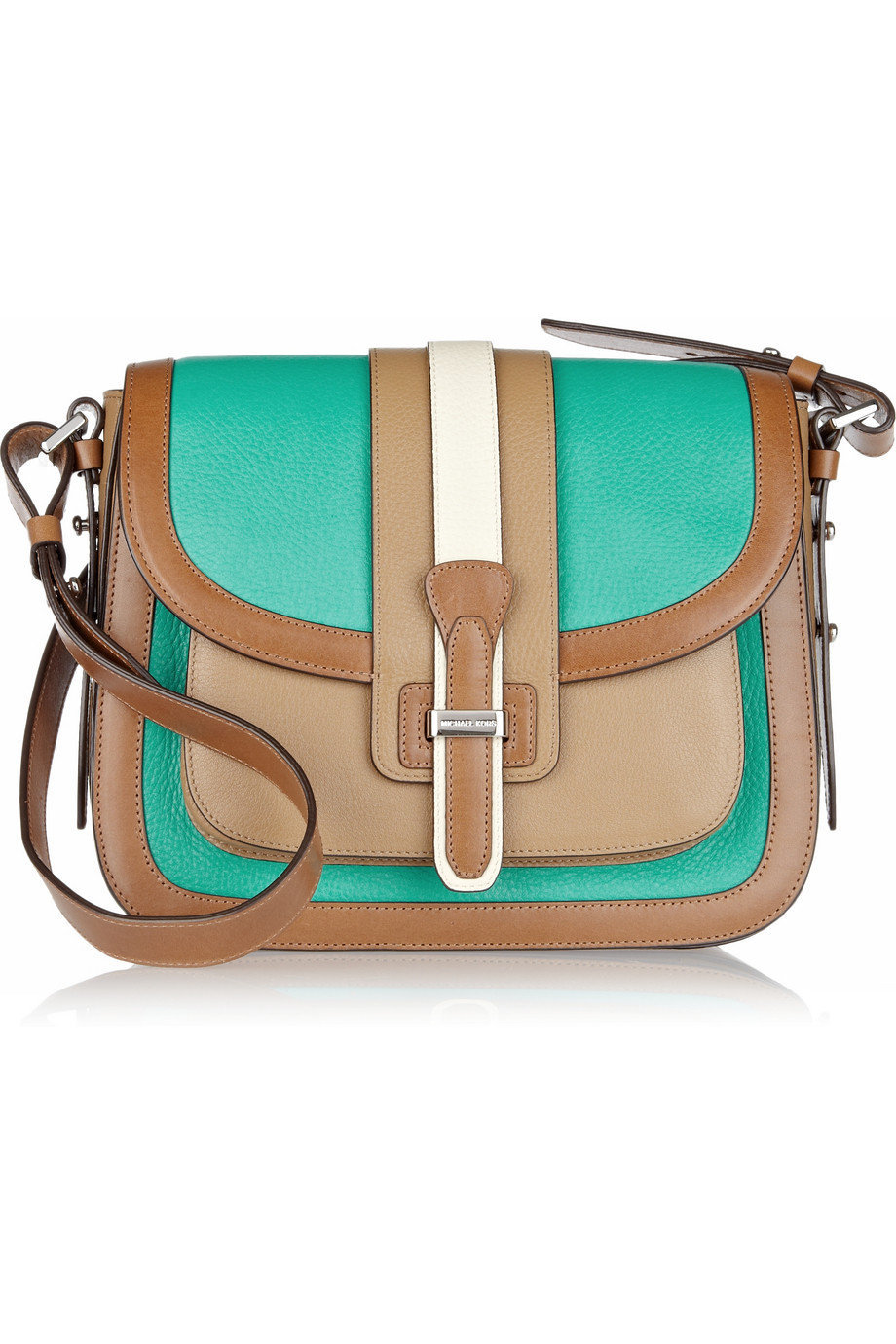 Michael Kors | Gia Saddle color-block leather shoulder bag | NET-A-PORTER.COM
