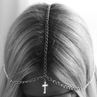 Silver Cross Chain Headpiece by snefter on Etsy