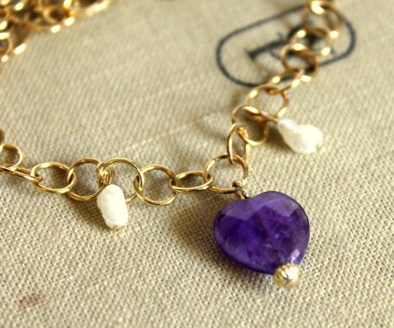 Purple heart Charm bracelet silver coated 14k gold  bracelet Classic -pearls Amethyst gem stone