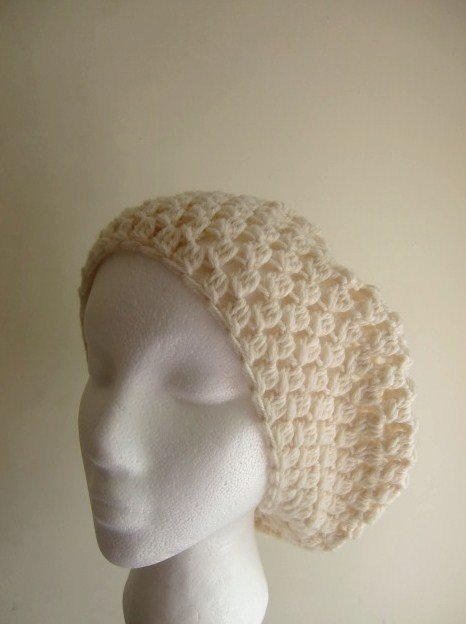 Cream Slouchy Beanie Knit Crochet Beret Hat