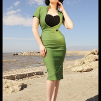 Pinup Couture Veronica Dress in Green with Black Ponte Heart and Button | Pinup Girl Clothing
