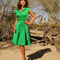 Colette Button Down Dress in Green Sateen | Pinup Girl Clothing
