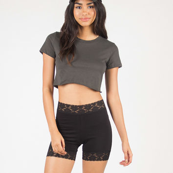 Lace Trimmed Tight Shorts - Black - Black /