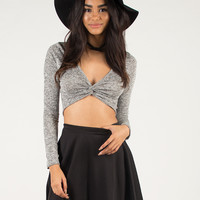 Knotted Front Crop Top - Large - Heather Gray /