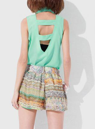Mint Green Sleeveless Button Up Hi-Lo Top with Cutout Back