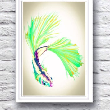 Trippy Colorful Swimming Beta Fish, Purple, Green, Blue Psychadelic Nautical Hippie Poster Print