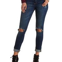 "Refuge ""Boyfriend"" Dark Wash Ripped Knee Jeans - Dark Wash Denim"