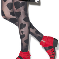 House of Holland Broken Heart Tights Black One