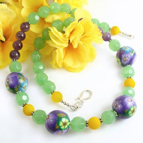 Floral Necklace with Purple Flower Beads, Polymer Clay, Amethysts, Green Yellow Glass, Sterling Clasp, Handmade