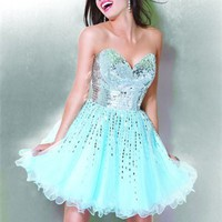 Strapless Sweetheart Sequin Aqua Mini Prom Dress PD0708