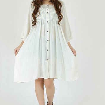Leisure cotton half sleeve Open dress