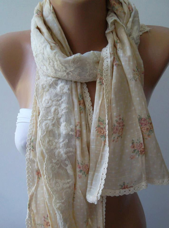 Romantic Scarf - Elegance Shawl - Scarf with Lace Edge....
