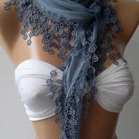Scarf - Grey Scarf -Summer Scarf -Elegance Scarf -Cotton Scarf-Shawl