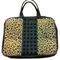 Hollywood Mirror | Leopard Stud Laptop Bag