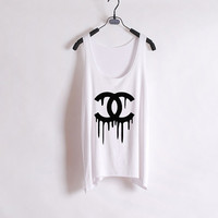 Melted Chanel/Dripping Chanel- Women Tank Top - White - Sides Straight