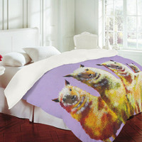 DENY Designs Home Accessories | Clara Nilles Lemon Lamas On Lavender Duvet Cover
