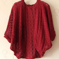 Women Bat-wing Sleeve Hook Flower Sunscreen Wine Red Knittng Cardigan Short Coat One Size@II0170wr $9.81 only in eFexcity.com.