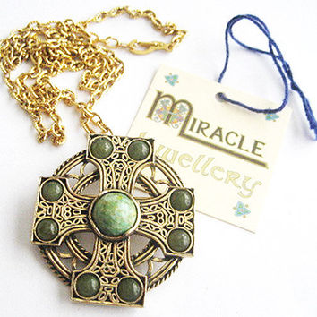 Older Connemara Stone Celtic Pin or Pendant - Signed Miracle with Original Box
