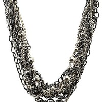 Knotted Chain Collar Necklace by Charlotte Russe - Silver