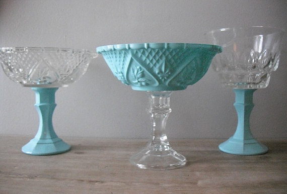 3 upcycled Tiffany blue Wedding candy buffet dishes ..candy bar dishes ..... hearts fleur de lis ... pedestal bowls
