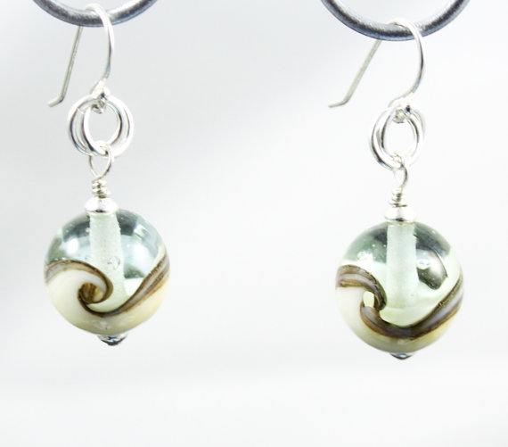 Wave Glass Earrings made with Pale Aqua and Ivory Lampwork Glass Beads and Sterling Silver findings