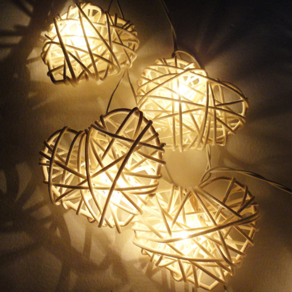 Rattan Hearts String Lights : 20 White Heart Rattan Lover Fairy Lights from marwincraft on Etsy