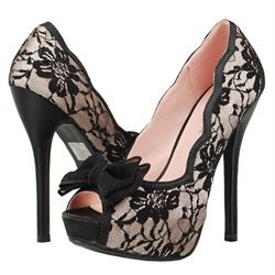 Justice05 Scallop Lace Bow Peeptoe Pumps NUDE
