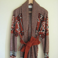 vintage 70s oversized southwestern cardigan
